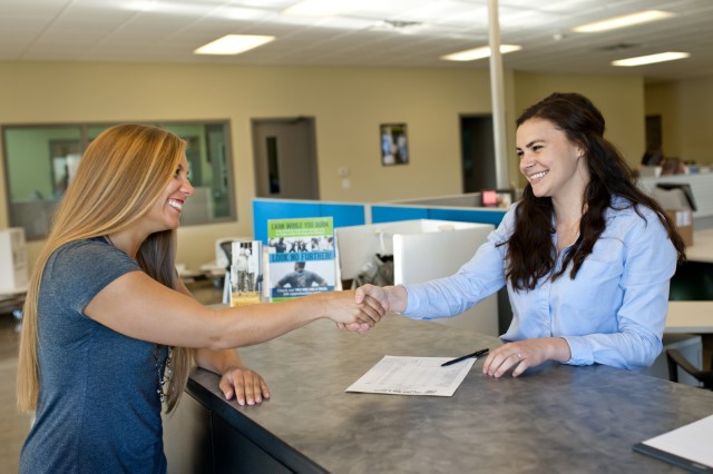 Franchisee helping a customer