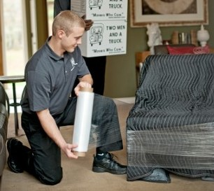 using moving blanket pds and shrink-wrap to protect furniture